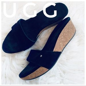 UGG suede leather platform wedge sandals
